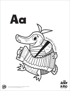Printable: ABC Animal Orchestra: 26 letter coloring pages...makes for a great unique alphabet book