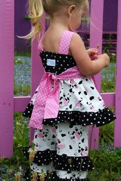 WANT - Country Cow Knot top with pink polka dot sash.....momi boutique