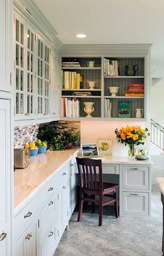 Beautiful kitchen desk … Transitional kitchen design with Shaker style cabinets … – Kitchen Pantry Cabinets Designs Kitchen Office Nook, Kitchen Desk Areas, Kitchen Desks, Kitchen Pantry Cabinets, Kitchen Cabinet Colors, Kitchen Corner, New Kitchen, Kitchen Small, Office Cabinets