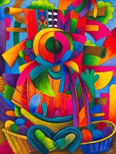 Guatemalan Mayan Indian artist Diego Isaias Hernandez Mendez depicts traditions in colorful oil paintings and a 2009 Mayan Calendar Mexican Artists, Mexican Folk Art, Paintings I Love, Colorful Paintings, Guatemalan Art, Hispanic Art, Latino Art, Naive Art, American Art