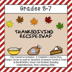 Dont you just love the aroma of turkey roasting in the oven? Sometimes I think that it smells better than it tastes. My mouth waters just thinking about it. Since Thanksgiving is the time for savory, mouth watering delights, how about having your class participate in a favorite recipe swap.