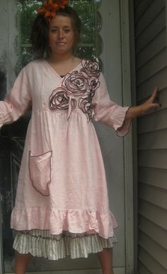 Pink Linen Rose Pocket Babydoll Dress M by sarahclemensclothing, $169.00