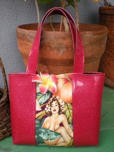 Pink Metallic and Vintage Pinup Tote by PopsCandy on Etsy, $28.00