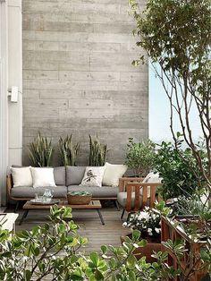 une terrasse design / bois et gris Outdoor Areas, Outdoor Rooms, Outdoor Living, Outdoor Furniture Sets, Outdoor Decor, Outdoor Decking, Rustic Furniture, Balcony Furniture, Antique Furniture