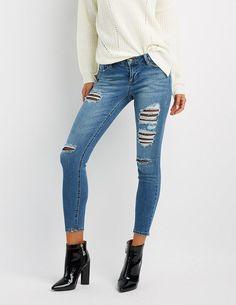 5d6417c24c94f Charlotte Russe Fishnet-Inset Destroyed Skinny Jeans