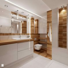 modernes Bad in Holz und Weiß – – – Rebel Without Applause Grey Bathroom Tiles, Ensuite Bathrooms, Laundry In Bathroom, Bathroom Layout, Bathroom Renovations, Small Bathroom, Simple Bathroom Designs, Bathroom Design Luxury, Modern Bathroom Design
