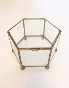 Vintage Brass and Glass Hexagon Curio Display by RecollectShop