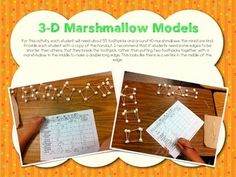 This is a freebie from my 3-D Shapes Activity Pack. For this fun activity, students will work with marshmallows and toothpicks to build 3-D prisms and pyramids and record their data on the chart. Then they need to write about their observations. This is a great way to reinforce the ideas of edges and vertices in young students.The Complete 3D Shapes Activity Pack includes...*15 Word Wall Words*2 classroom posters (3 dimensions, faces, edges, and vertices)*Shape Hunt tree map*Cut & paste ...