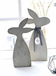 Kaninchen aus Beton mit einer selbstgemachten Form - HANDMADE Kultur, autour du tissu déco enfant paques bébé déco mariage diy et crochet Concrete Crafts, Concrete Art, Diy Y Manualidades, Papercrete, Diy Crafts To Do, Easter Crafts, Projects To Try, Handmade, Beton Diy