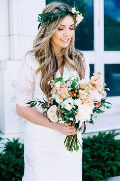 A gorgeous wedding look: lace-sleeved white wedding dress with a fresh bridal makeup look, an elegant flower crown, and a bouquet to match. Discover how Vênsette can craft custom beauty looks for your special moment: http://vensette.com/bridal_inquiries