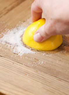 Every month or so I give my wooden chopping boards a spa treatment by using a few simple kitchen ingredients: lemon, salt and a little elbow grease. Read on for instructions on this simple, effective way to give your chopping boards a deep clean. Cleaning Wood, House Cleaning Tips, Cleaning Hacks, Cleaning Solutions, Cleaning Products, Green Cleaning, Kitchen Cleaning, Cleaning Recipes, Bathroom Cleaning