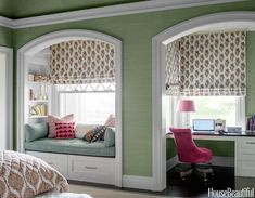 Lee Ann Thornton - Beautiful bedroom features green grasscloth wallpapered walls in Glam Grass by Philip Jeffries in Maldive Blue framing arched alcoves filled with a window seat with two drawers and built-in desk nook.