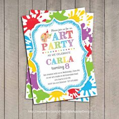 Art Birthday Party Invitations Best Of Art Party Invitation Kids Art Party Invitation by Dreamyduck Art Party Invitations, Kids Birthday Party Invitations, Art Birthday, Birthday Invitation Templates, Invitation Wording, Birthday Ideas, Birthday Parties, Birthday Template, Printable Invitations
