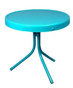 """20"""""""" Turquoise Blue Retro Metal Tulip Outdoor Side Table"""