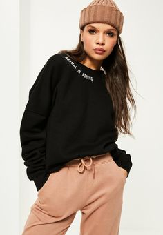 Missguided - Black Normal Is Boring Embroidered Sweatshirt