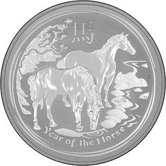 'Year of the Horse' Silver Coin. Available in 1/2 oz, 1 oz, 2 oz, 5 oz, 10 oz and 1 kilo versions.