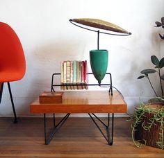 Mitchell Bobrick lamp with bookshelf, by Controlight c. 1949.