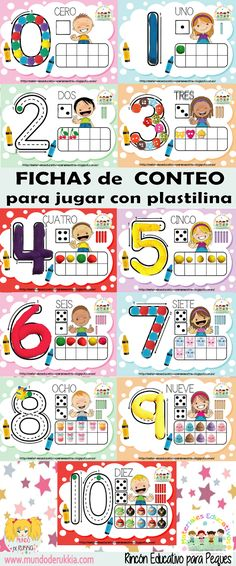 fichas-conteo Preschool Math Games, Fun Math, Math Activities, Halloween Photo Props, I Love Math, Folder Games, Classroom Setting, Home Schooling, Learning Spanish