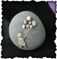 created from rock, pebbles, sea glass, seashell and driftwood ❥ www.rockswithcharm.com: