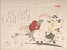 Kubo Shunman (Japanese, 1757–1820). Spring Rain Collection (Harusame shū), vol. 2: Cut Flowers: Clematis, Bush Clover, Iris, Camellia, and Azalea, 1815. Edo period (1615–1868). Japan. The Metropolitan Museum of Art, New York. H. O. Havemeyer Collection, Bequest of Mrs. H. O. Havemeyer, 1929 (JP2155)