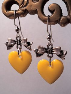 Yellow Heart w/Bow Earrings