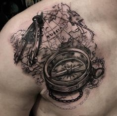 map compass feather tattoo