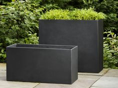 Modular Planter 7 Fliberglass Planter in Onyx Black by Campania International