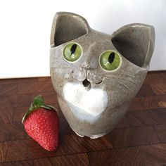 Cute little retro Australian studio pottery ceramic CAT SCULPTURE & vase by Schaer in Katoomba Blue Mountains NSW. Excellent vintage condition light crazing to eyes & to the white patch in front no chips or cracks. Signed Schaer Australia. $45p. Available @vintage_design_shop online store #eBay - seller:vintage-design-shop. #vintage #vintageart #vintageceramics #vintagepottery #AustralianStudioPottery #studiopottery #pottery #ceramic #ceramics #retro #retroart #Schaer #Katoomba #handmade…