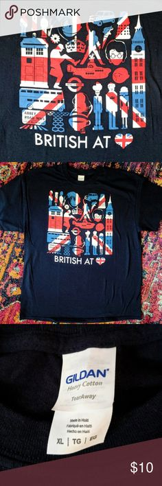 """Men's British At Heart Tee Fury Graphic Tee XL ALL GRAPHIC TEES ARE $10 EA or 2 FOR $15. Dark navy short sleeved tee shirt with British flag, lots of famous British imagery and """"British at ❤️"""" text. Blue, white & red. Brand new. Tee Fury shirts do not come with tags. Tee Fury Shirts Tees - Short Sleeve"""