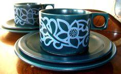 2 x KILRUSH POTTERY~CELTIC CERAMICS~IRELAND~ LIMERICK ~TEA COFFEE TRIOS~EXC!