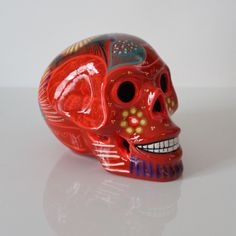 Remmy, Ceramic Sugar Skull, Large, Orange