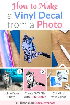 Step-by-step tutorial to make a custom vinyl decal on your Cricut or Silhouette using one of your own photos! Step-by-step tutorial to make a custom vinyl decal on your Cricut or Silhouette using one of your own photos! Cricut Air 2, Cricut Help, Cricut Mat, Cricut Fonts, Cricut Craft Room, Cricut Tutorials, Vinyl Crafts, Cricut Vinyl Projects, Paper Crafts