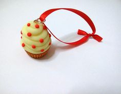 Cupcake Christmas Ornament Glow in the Dark cream by youfimo