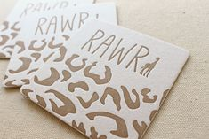 RAWR Letterpress Printed Safari Coasters perfect for a kiddo birthday!