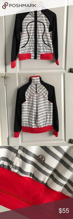 Lululemon Jacket Never Worn! SZ 4 Brand New Lululemon Jacket! Size: 4. No tags, but never worn! Cool retro print, hard to find! Thumb holes, meshed lined, and headphone port on inside. lululemon athletica Jackets & Coats