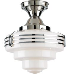 "Liberty Semi-Flush Mount in Polished Nickel with 12"" B5937 Shade and B6586 Trim Ring from Rejuvenation Lighting & House Parts"