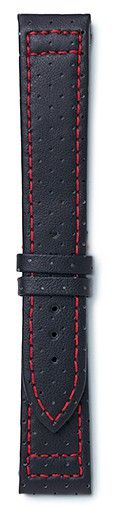 black sport leather strap with red stitching available in or Maurice de Mauriac doesn't just stand for exclusive, mechanical boutique watches, but also for exquisite leather. Swiss Made Watches, Watch Bands, Sports, Leather, Accessories, Black, Hs Sports, Black People, Excercise