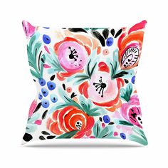 KESS InHouse CW1002AOP03 18 x 18-Inch 'Crystal Walen Boho Morning Glory Pink Orange' Outdoor Throw Cushion - Multi-Colour ** You can get additional details at the image link. #GardenFurnitureandAccessories