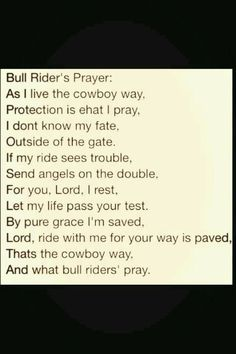 Bull riders prayer