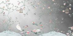Nauzha chinoiserie wallpaper vintage bird wallpaper | Etsy Vintage Bird Wallpaper, Silver Wallpaper, Unique Wallpaper, Vintage Birds, Cardboard Frames, Herringbone Wallpaper, Chinoiserie Wallpaper, Paper Fans, Handmade Items