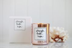 Copper Rose Gold Faith Strength Hope Candle Soy wax and essential oils handmade in Australia www.lemoncanary.com.au