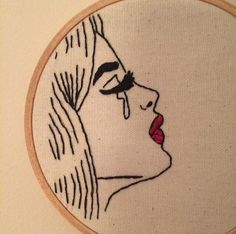 Pop art crying girl hand embroidery by ElenaColetteCo on Etsy Body Art Tattoos, Girl Tattoos, Tatoos, Pop Art Drawing, Art Drawings, Arctic Monkeys Tattoo, Pop Art Girl Crying, Cross Stitch Embroidery, Hand Embroidery