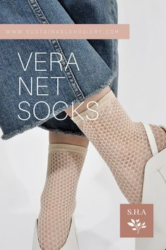 Swedish Stockings' classic net pattern is shown in Vera Socks. They're available in wine, black and ivory! Here're the reasons why you'll love her: - Net socks - Toe reinforcements - 100% emission free socks - Knitted from recycled yarn Vera is knitted in our zero-waste, emission free facility in Italy. Composition: 95% recycled polyamide, 5% elastane #swedishstockings #fishnetsocksoutfitheels #whitefishnetsocksoutfit #recycledfishnet #fishnettightsshop Knee High Stockings, Fishnet Stockings, Scandi Chic, Recycled Yarn, Ankle Socks, Knitting Socks, Zero Waste, Clothing Items, Composition