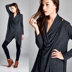 """Coy Mistress"" Draped Front Button Cardigan Gorgeous cardigan that you drape across your shoulders and button. Also can be worn as an open cardigan. Available in black, charcoal and heather grey. This listing is for the CHARCOAL. Brand new with tags. Bare Anthology Sweaters Cardigans"