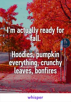 I'm actually ready for fall.  Hoodies, pumpkin everything, crunchy leaves…