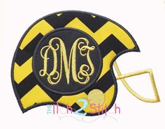 """Football Helmet Monogram Applique Design Sizes 4x4, 5x7 and 6x10, shown with """"Intertwined"""" Font NOT Included, INSTANT DOWNLOAD by TheItch2Stitch on Etsy https://www.etsy.com/listing/162894539/football-helmet-monogram-applique-design"""
