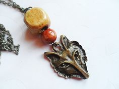 Fox necklace with brown wooden pearls, vintage style brass, nature jewelry by SelmaDreams on Etsy