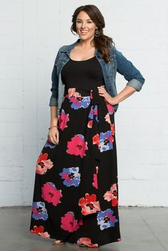 Our plus size Celine Chiffon Maxi Skirt in Abstract Floral print will add color to your spring wardrobe! #madeintheusa www.kiyonna.com