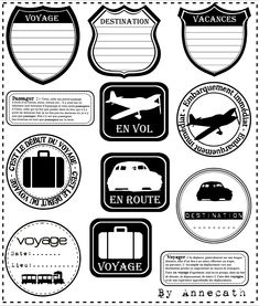 By plane, car or train . - The creation annecath Printable Labels, Printable Paper, Free Printables, Printable Stickers, Travel Scrapbook, Scrapbook Pages, Scrapbook Kit, Travel Album, Travel Tags