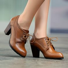 Black Brown Genuine Leather Booties Vintage Sapatos Femininos Ladies Chunky High Heel Lace Up Oxford Shoes Pumps For Women 2013 -inPumps fro...